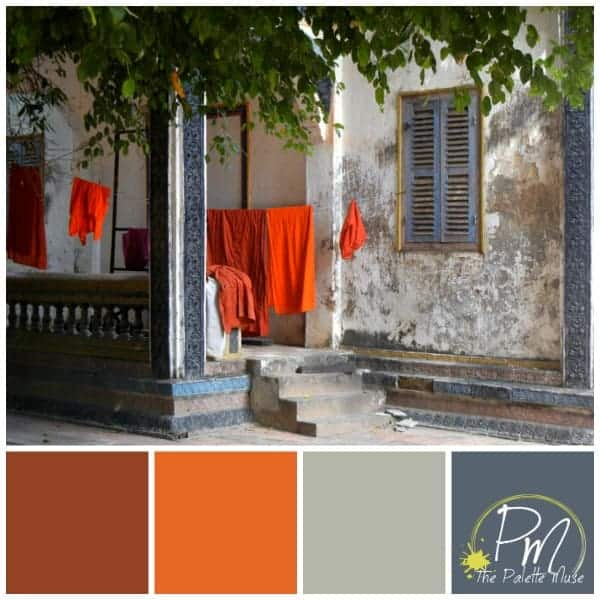 Saffron Robes Color Palette with reds and slate grays