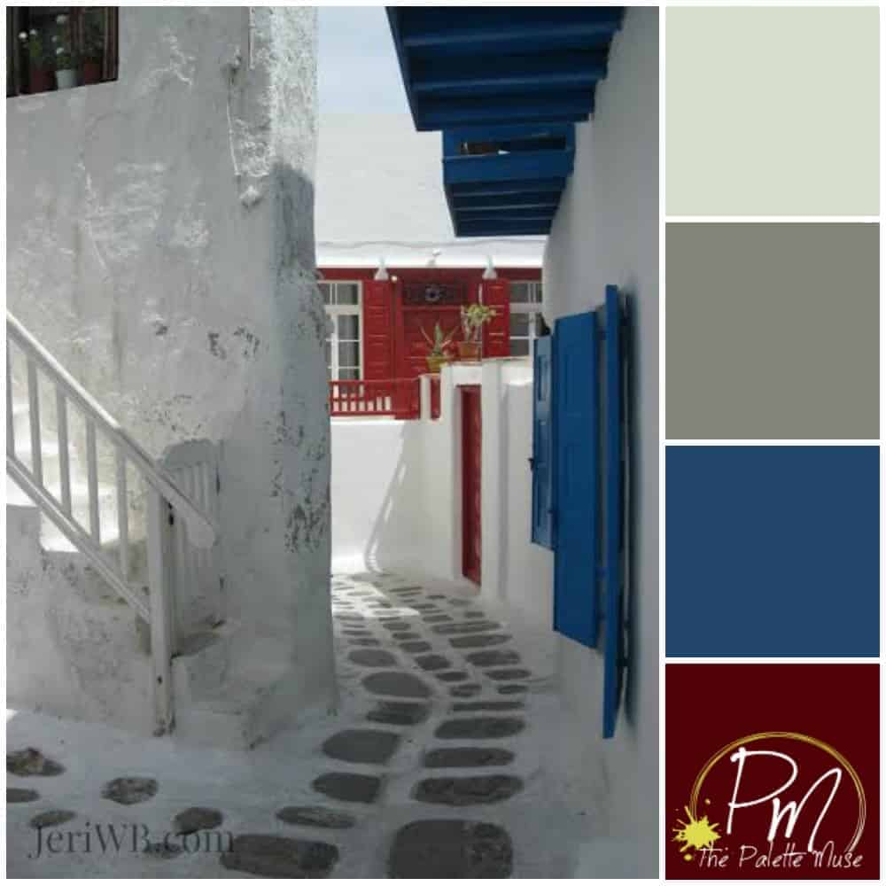 Greek Isle Palette: Bright blue and red is tempered with gray and a little sky blue.
