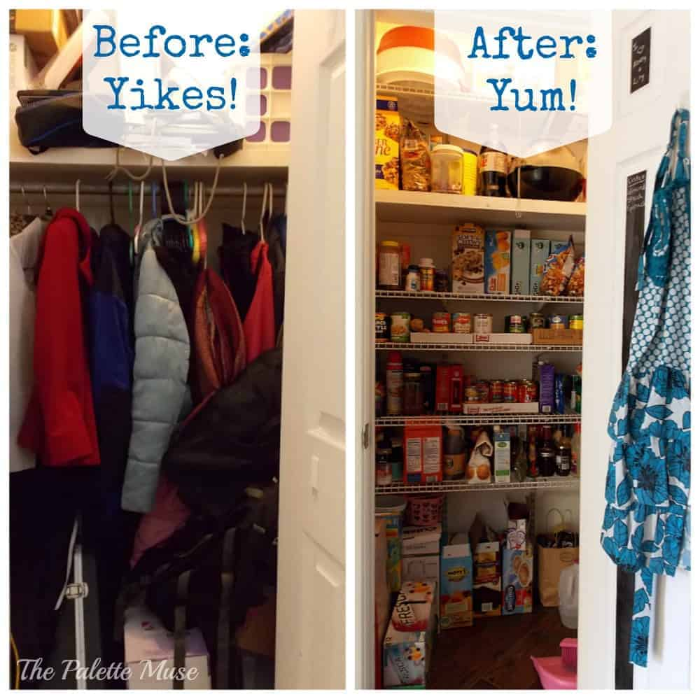 Before and After: From cluttered closet to organized pantry