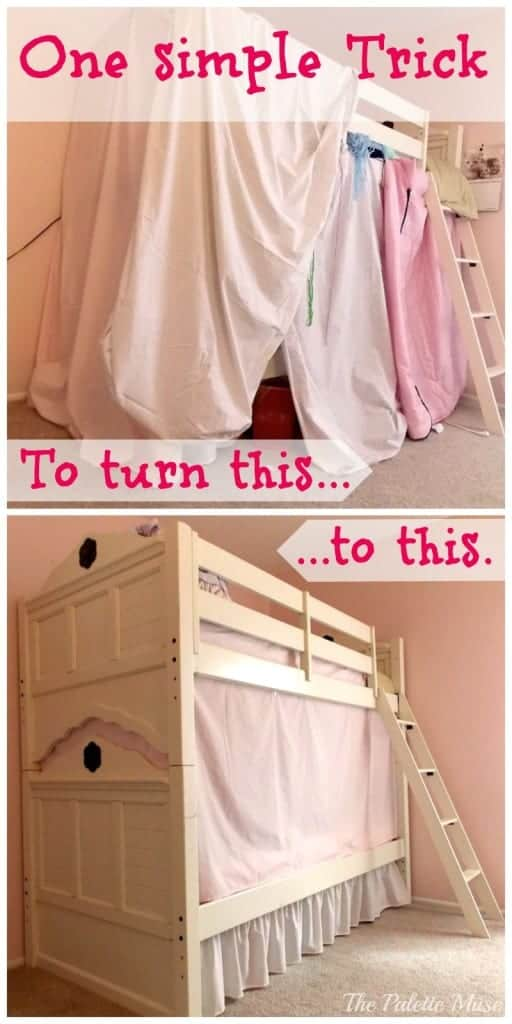 One simple trick to turn a messy sheet fort into a clean lined bunk bed tent.