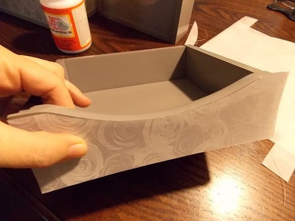 Mod Podge Tutorial. First, cut paper to size.