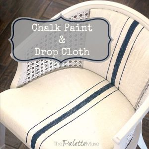 How to remake a chair with Americana Decor Chalky Finish Paint, a drop cloth, and fabric paint.