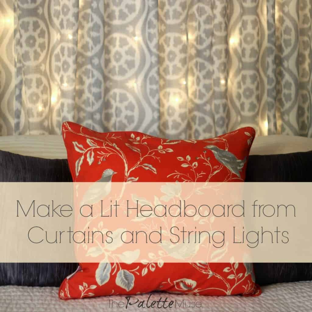 Make a Lit Headboard from Curtains and String Lights