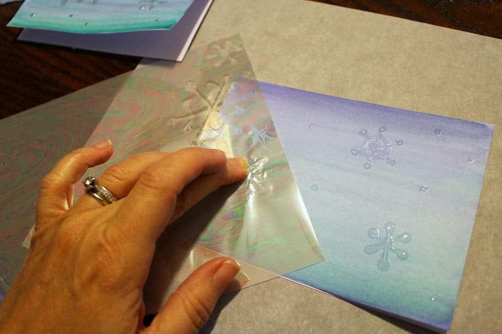 Snowflake-cards-adding-iridescent-foil