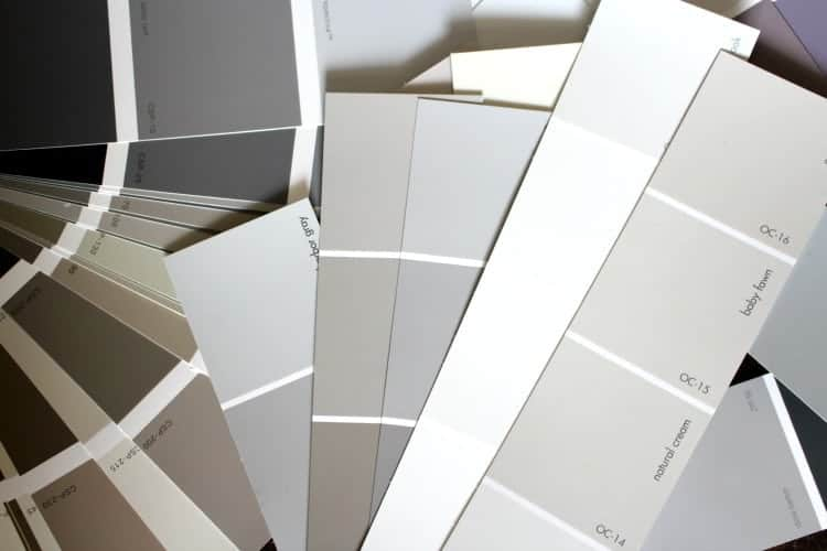 Gray color options in different color palettes.