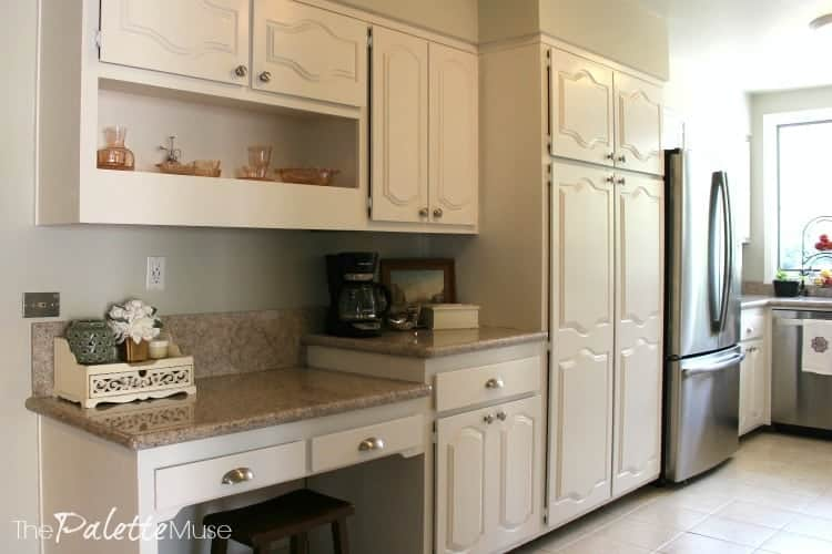finished painted white kitchen cabinets
