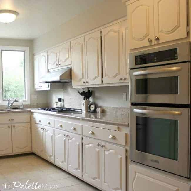 The best way to paint kitchen cabinets the palette muse for What is the best way to paint kitchen cabinets white