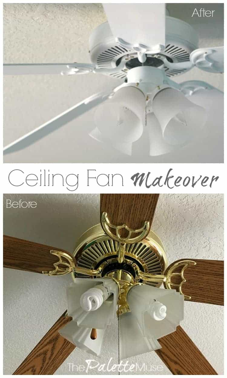 Ceiling Fan Makeover before and after