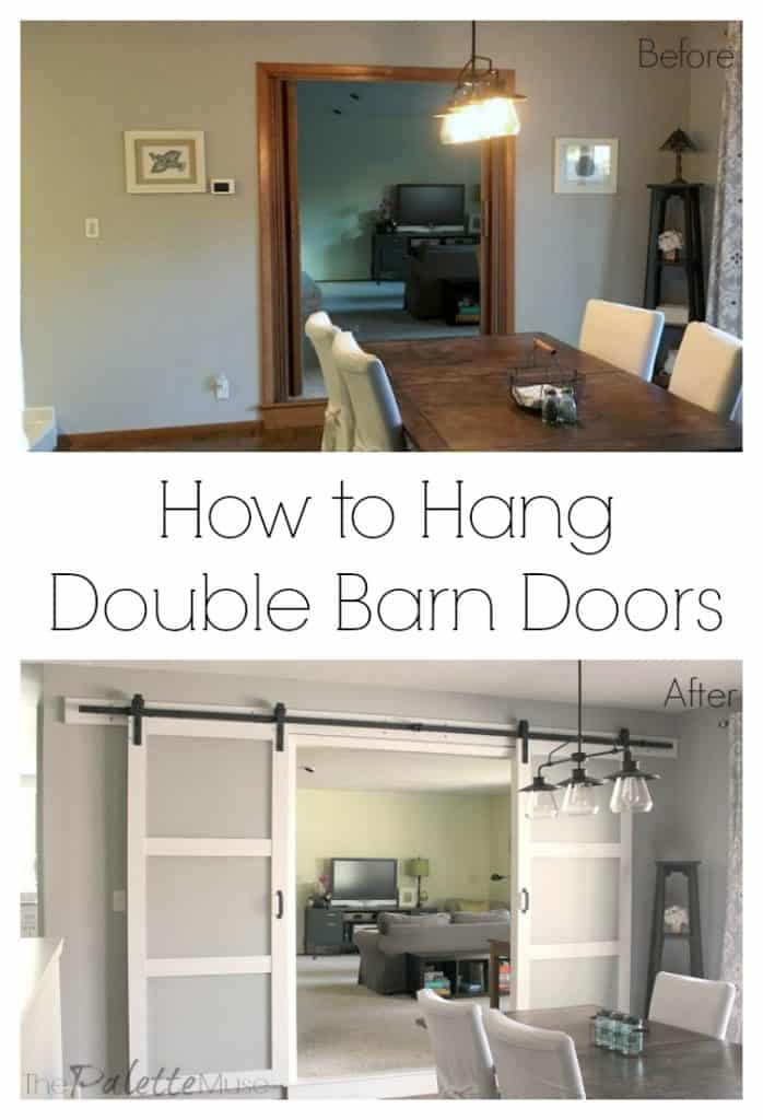 Before and after photos of double barn doors