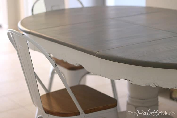 Close up view of gray and white farmhouse table