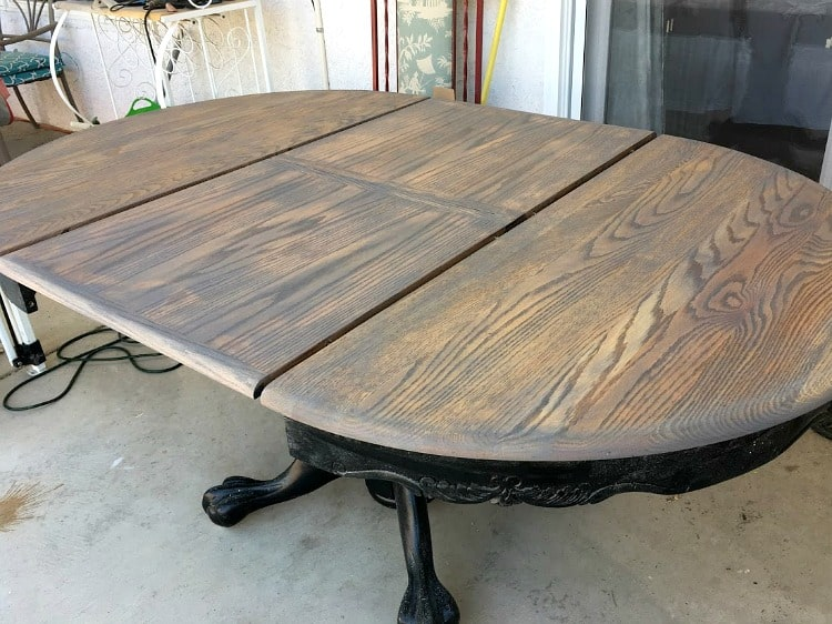 Table top after gray stain and before a top coat