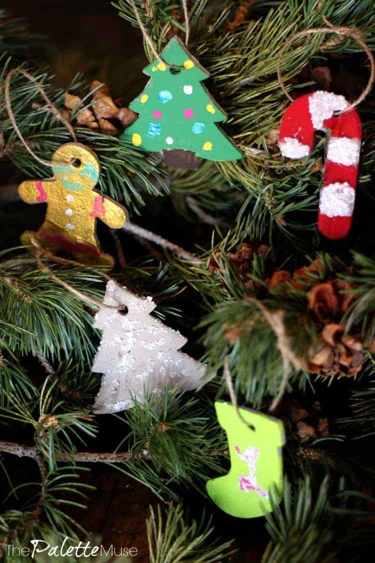 Colorful concrete Christmas ornaments