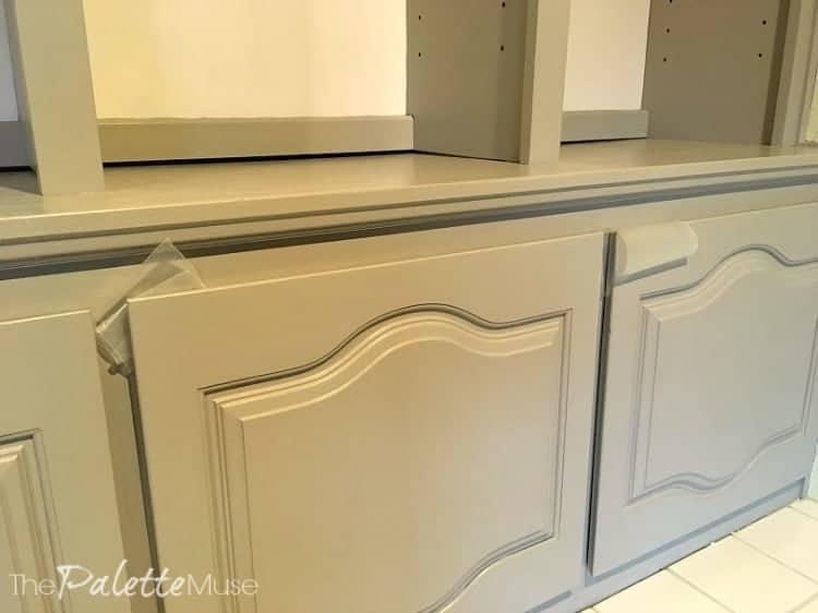Freshly painted cabinet doors