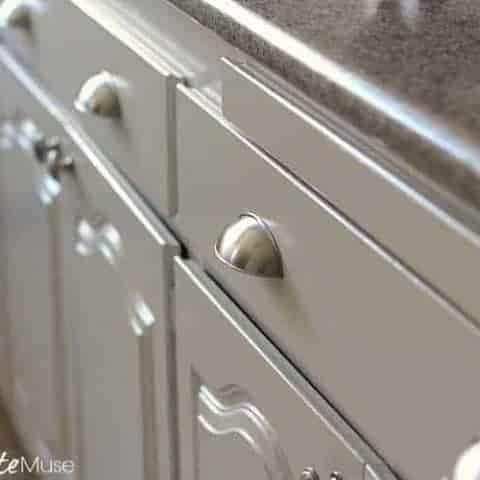 This is hands-down the best way to paint kitchen cabinets. No sanding required! #kitchencabinets #paintingcabinets #diykitchen