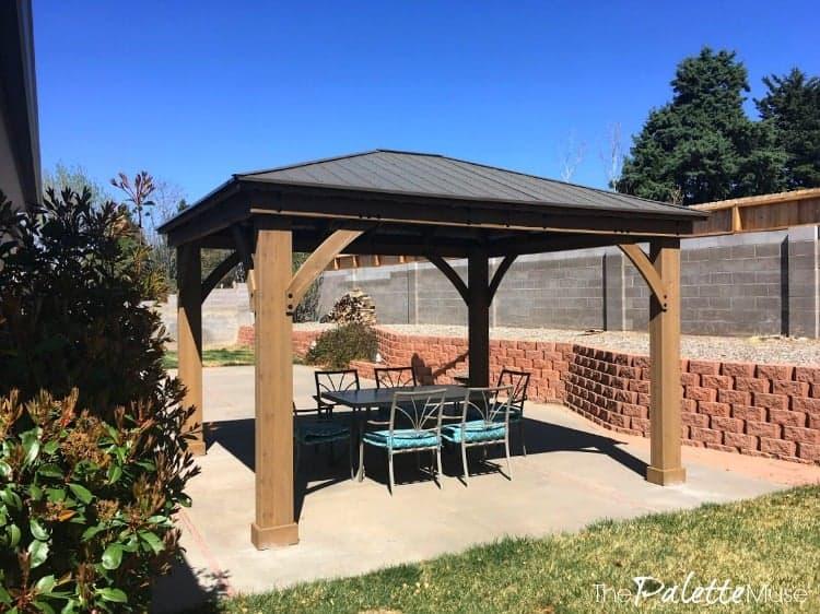 Backyard patio with Yardistry gazebo and shaded dining area