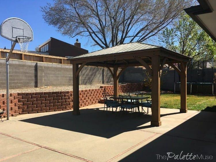 Backyard patio with gazebo and dining area