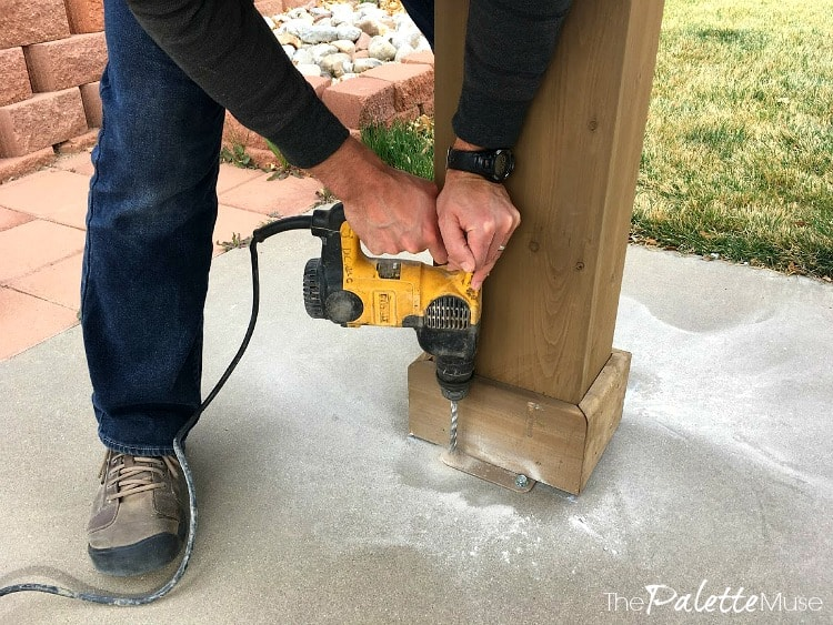 Anchoring the Yardistry gazebo into concrete patio, using concrete anchors and a hammer drill