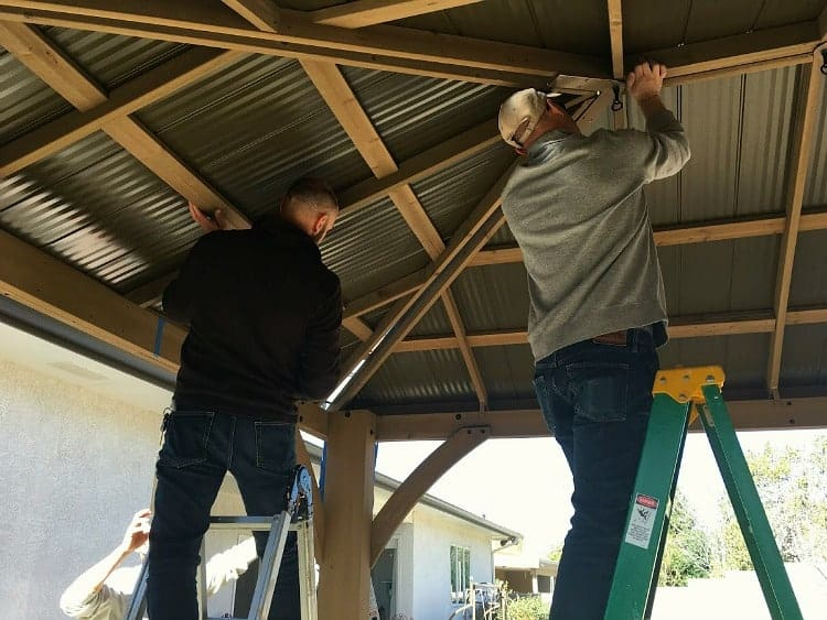 Aligning the roof panels on a Yardistry gazebo