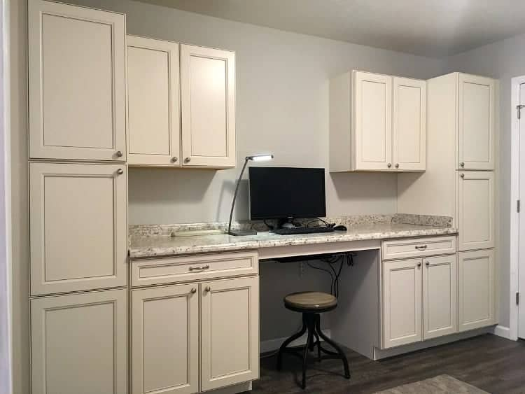 Home office wall of built in cabinetry