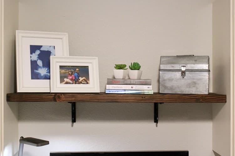 Wood shelf above computer in home office makeover