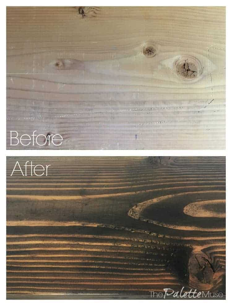 """Before and after - stained wood with Minwax """"coffee"""""""