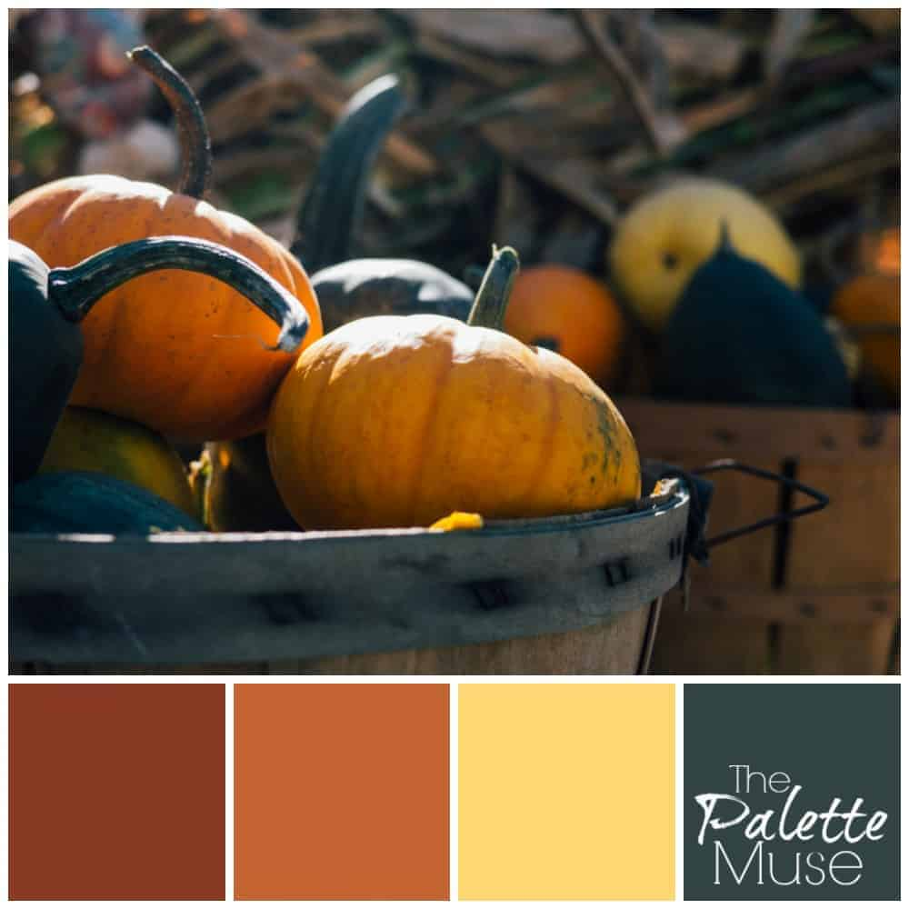 Pumpkin palette with warm oranges and a deep green