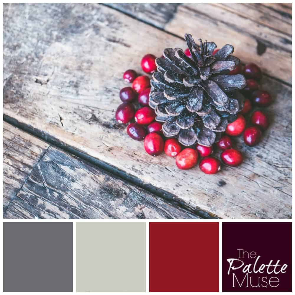 Farmhouse Christmas palette with reds and grays