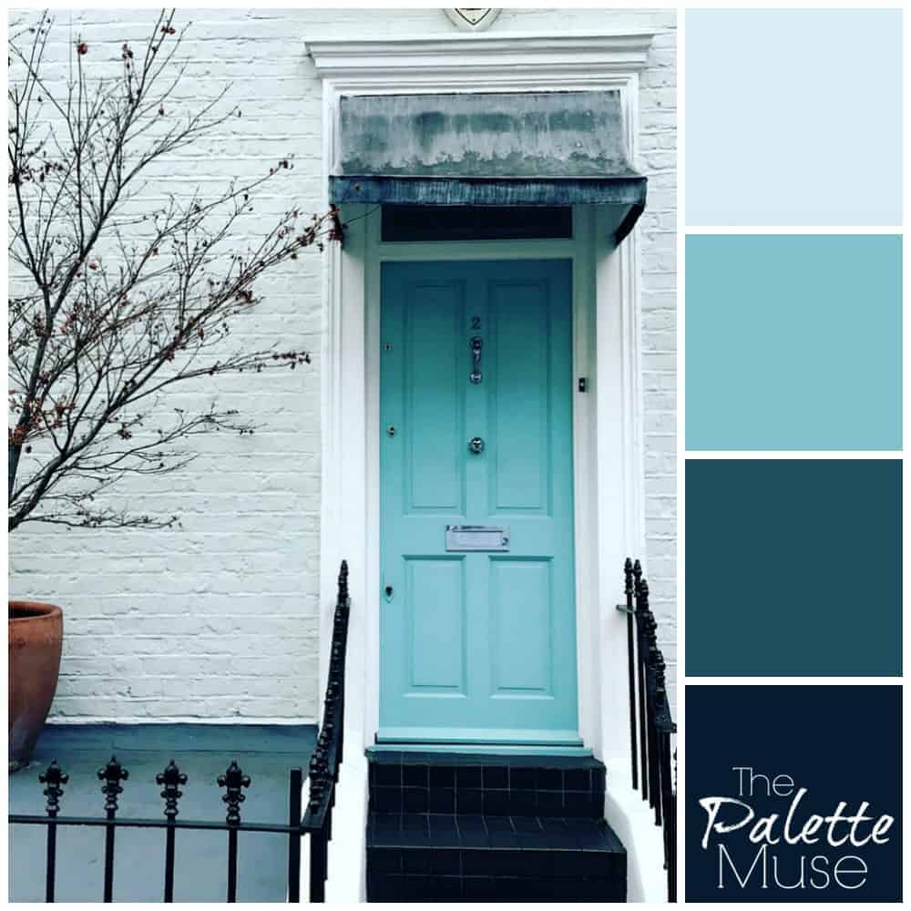 Blue door palette with shades of cool blue