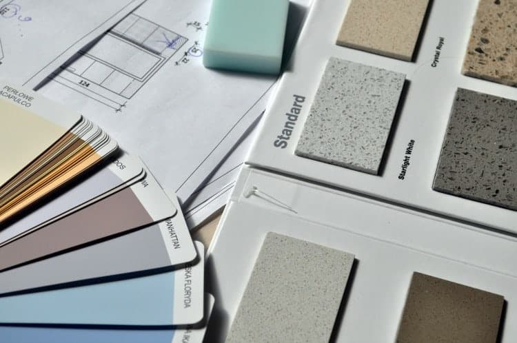 A variety of color palettes and granite samples