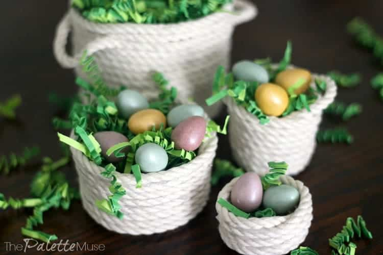 Mini rope baskets with green easter grass and miniature egg candies