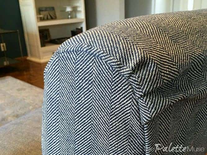 Fabric tucks on simple chair covers.
