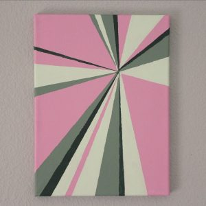 Pink and green sun ray painting, based on a color palette from The Palette Muse.