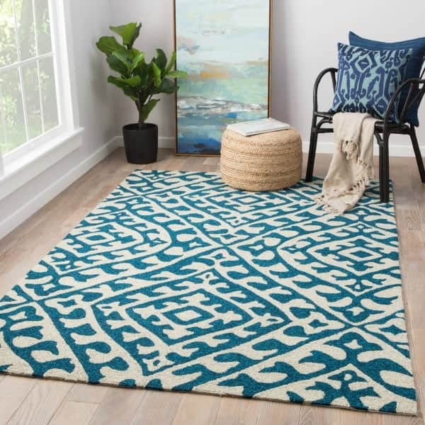 Teal and cream colored rug