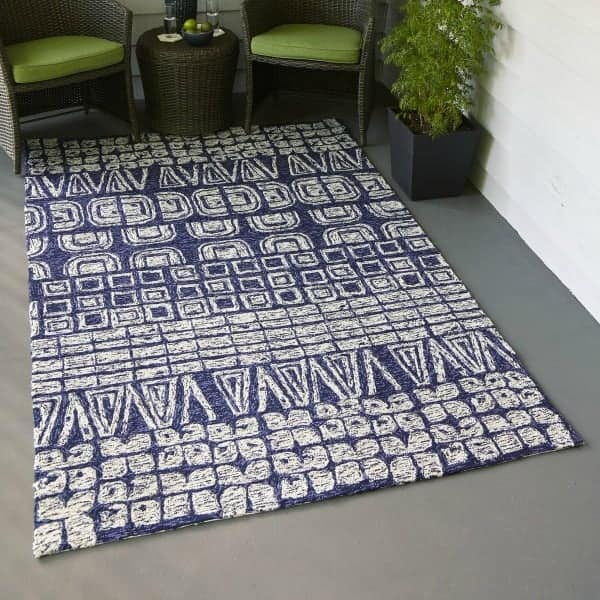 Dark blue and white patterned outdoor rug