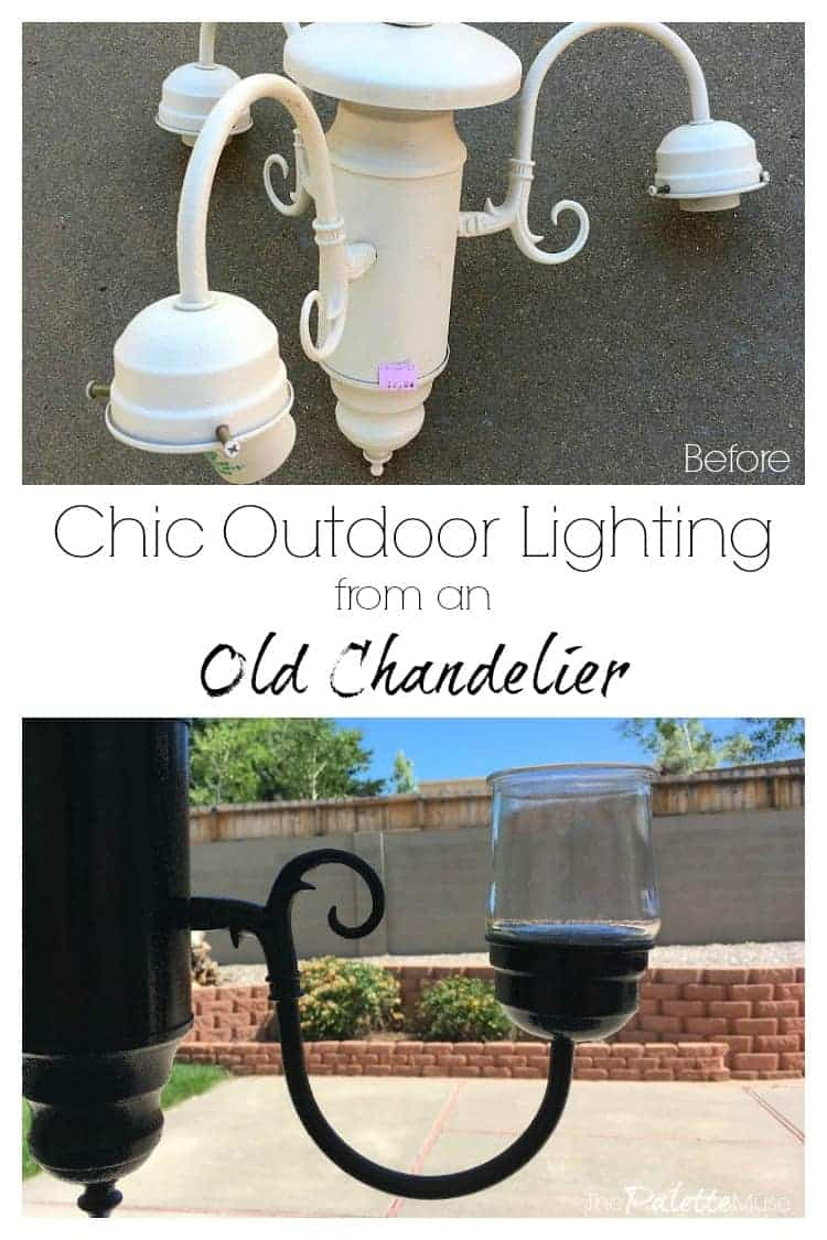 Chic outdoor lighting from an old chandelier