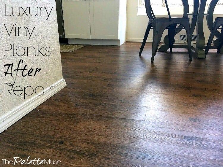 Luxury Vinyl Planks After Repair - nice smooth wood look flooring