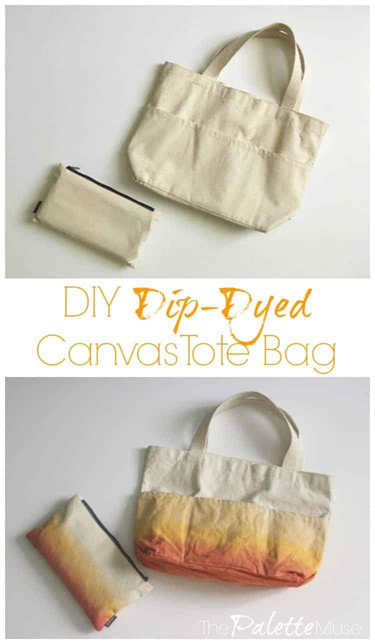 DIY Dip-Dyed Canvas Tote Bag