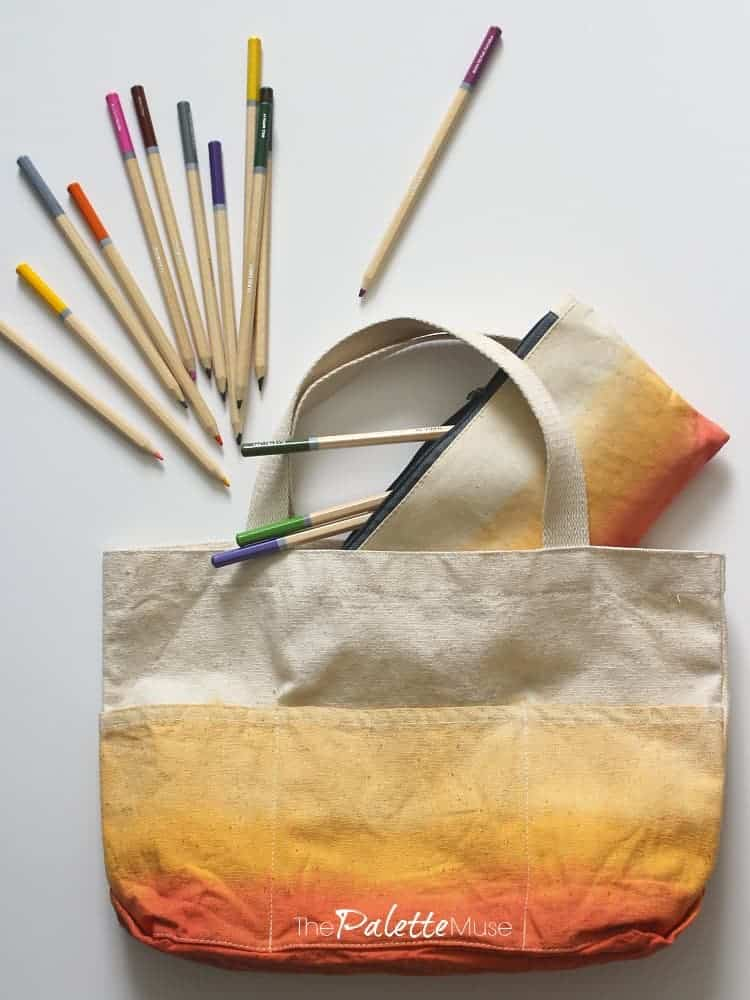 Orange ombre dip dyed tote bag and matching pencil bag.