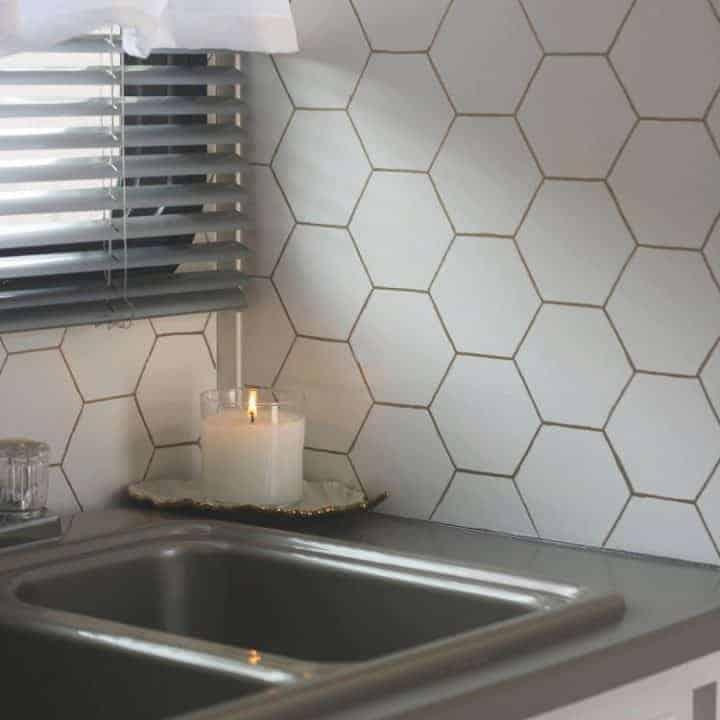 Create a Gold Hexagon Backsplash
