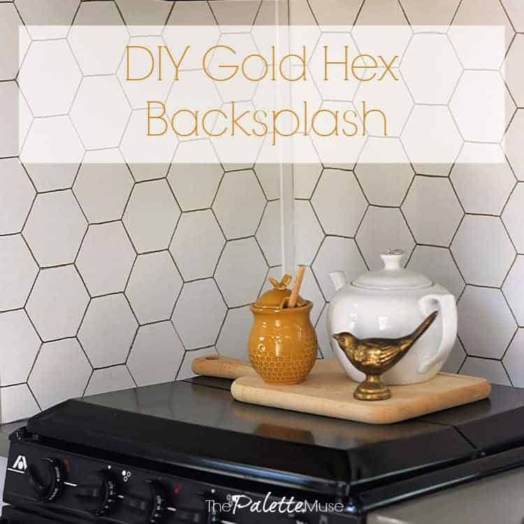 This DIY Gold Hex Backsplash makes a huge statement without a huge hassle.