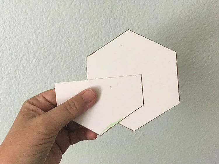 Partial hexagons for stenciling around edges and tight corners.