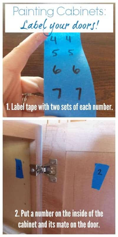 Tape scraps with matching numbers label each door to go with its cabinet.