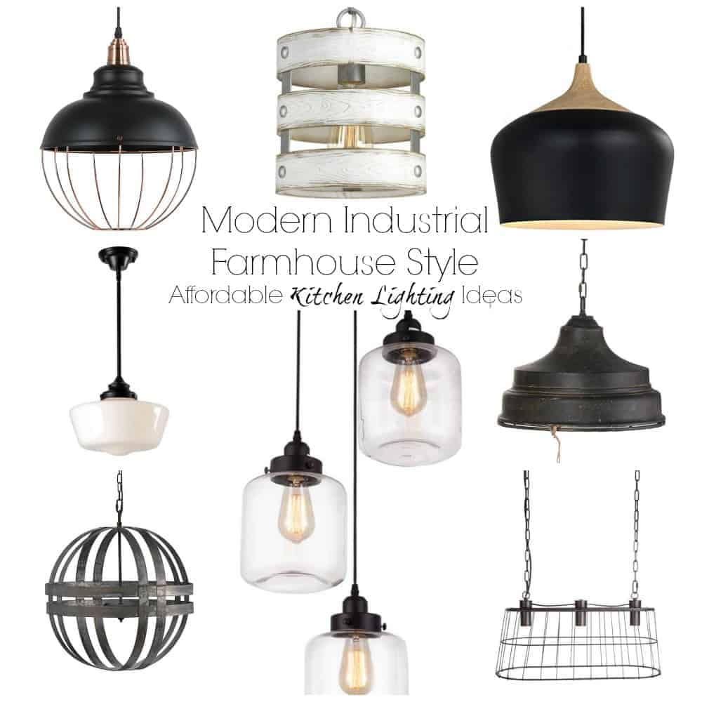 Modern Industrial Farmhouse Lighting Ideas. Chandeliers, pendants for islands or breakfast tables. #kitchendesign #farmhouselighting #pendantlights