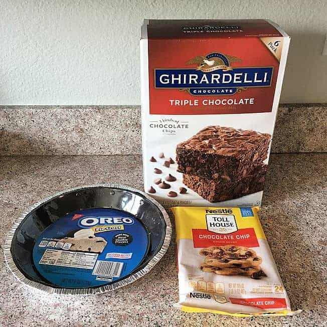 Ingredients for Easy Brownie Pie - Oreo pie crust, Nestle Tollhouse chocolate chip cookie dough, Ghirardelli triple chocolate brownie mix.