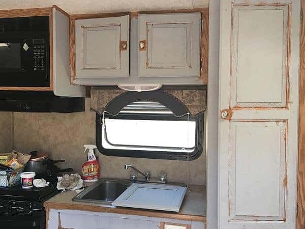 Half-painted kitchen cabinets