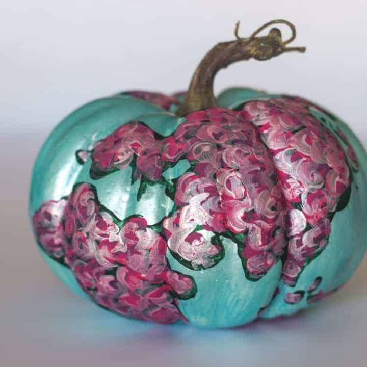 Floral map painted pumpkin