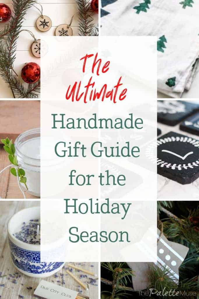 Handmade gift guide with handmade candles, towels, ornaments, and salt scrub.