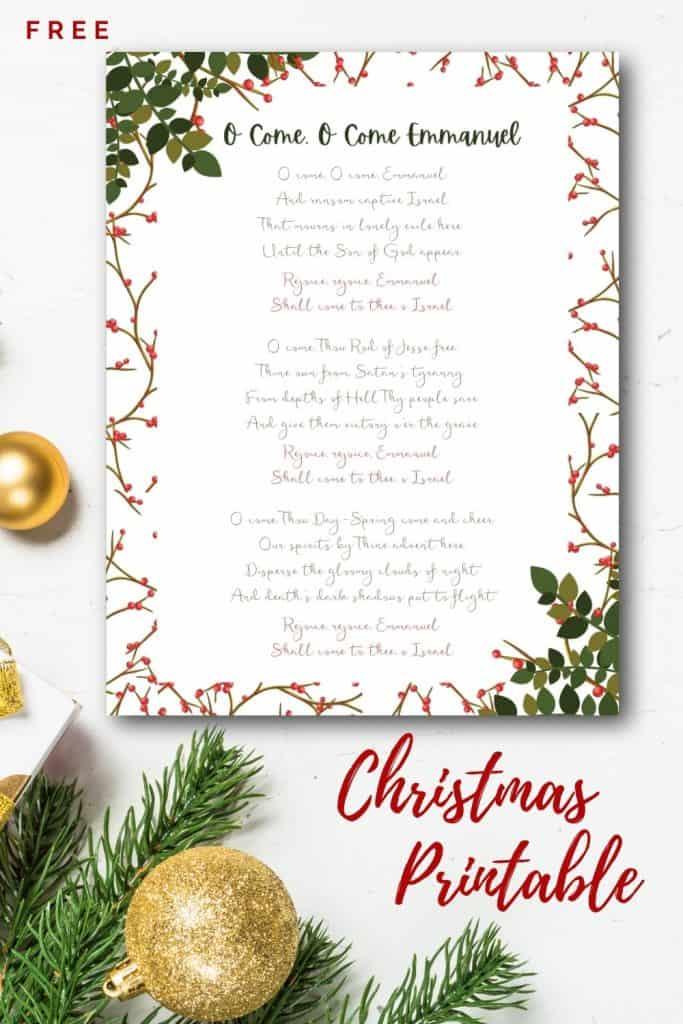 Free Christmas Printable of O Come O Come Emmanuel