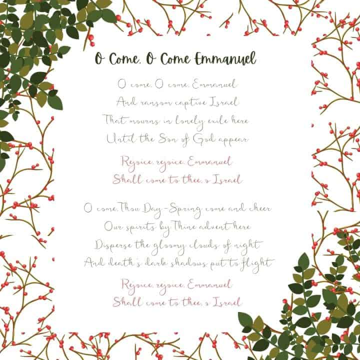 O come, O come, Emmanuel Christmas Printable