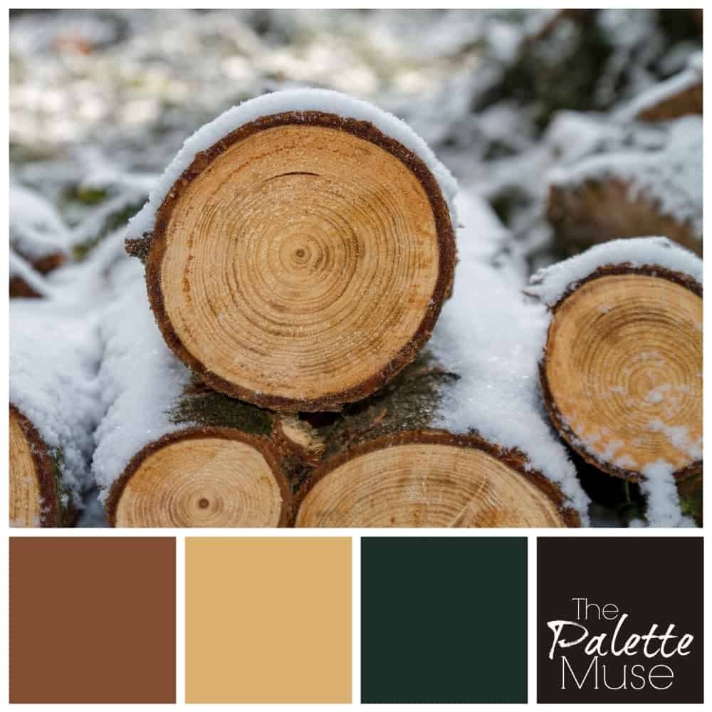 Winter woodpile palette with warm browns and dark green.